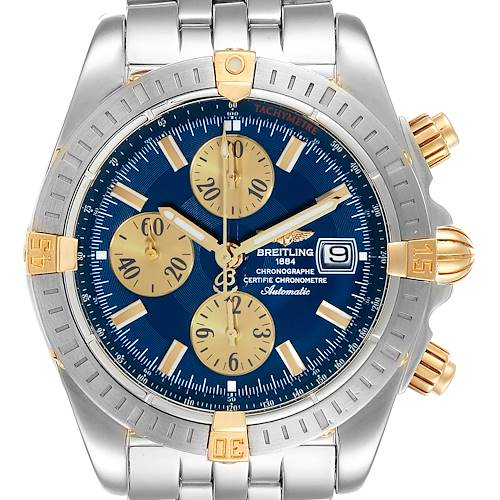 Photo of Breitling Chronomat Steel 18K Yellow Gold Blue Dial Mens Watch B13356