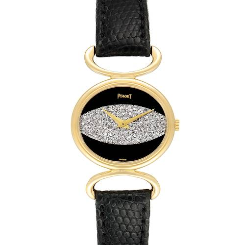 Photo of Piaget Classique Yellow Gold Onix Diamond Dial Vintage Ladies Watch 9802