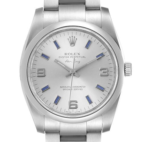 Photo of Rolex Air King Silver Dial Blue Hour Markers Steel Mens Watch 114200