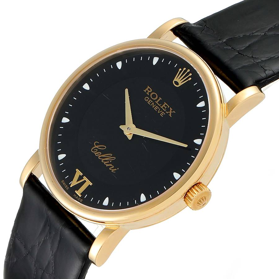 Rolex Cellini Classic 18k Yellow Gold Black Dial Unisex Watch 5115 SwissWatchExpo