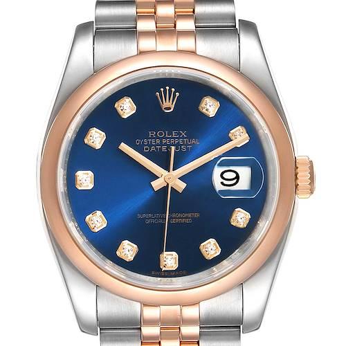 Photo of Rolex Datejust 36 Steel EverRose Gold Blue Diamond Dial Watch 116201