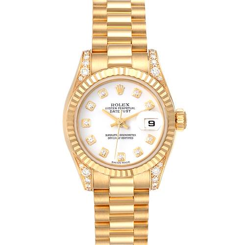 Photo of Rolex President 18K Yellow Gold White Diamond Dial Watch 179238 Box Papers