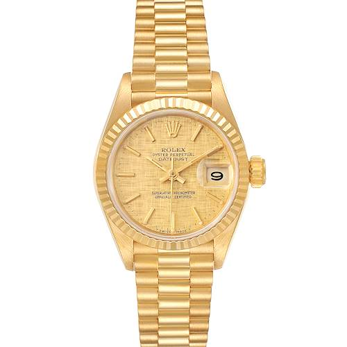 Photo of Rolex President Datejust 18K Yellow Gold Linen Dial Watch 69178 Box Papers
