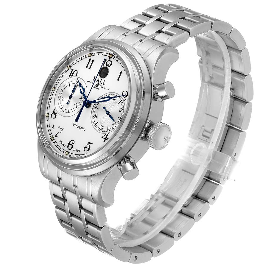 Ball Trainmaster Cannonball Chronograph Steel Mens Watch CM1052D Card SwissWatchExpo