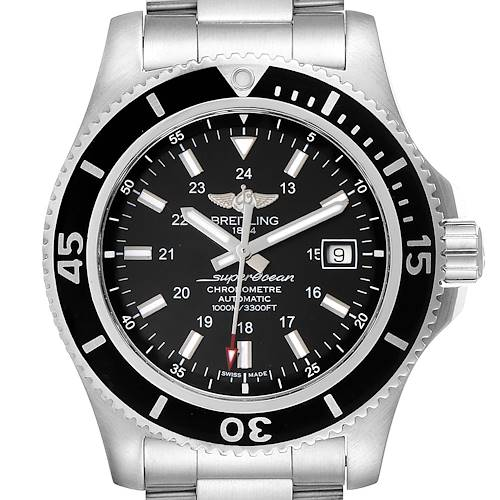 Photo of Breitling Superocean II 44 Black Dial Steel Mens Watch A17392 Box Papers