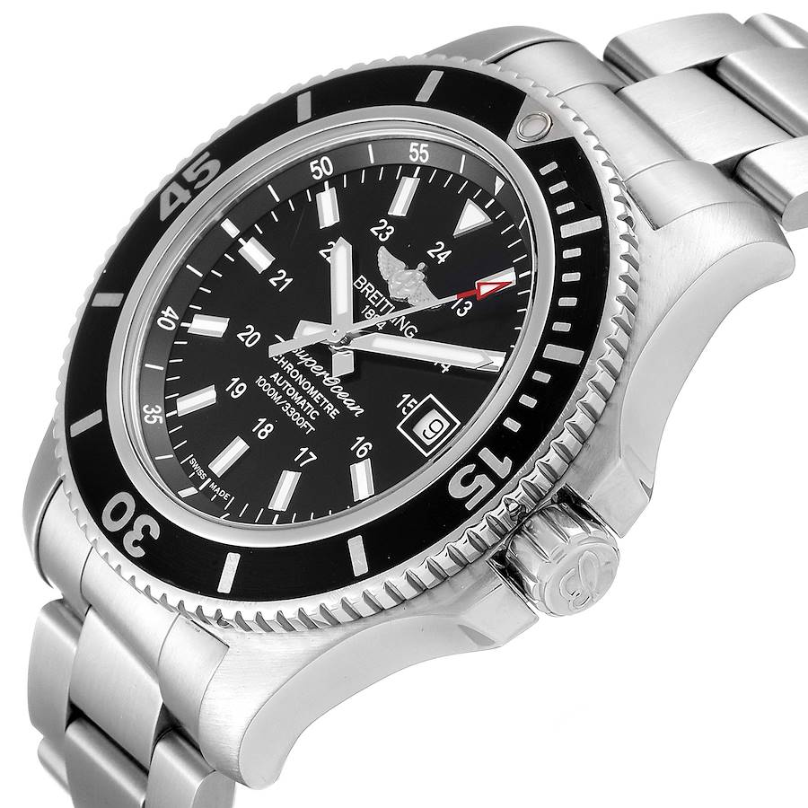 Breitling Superocean II 44 Black Dial Steel Mens Watch A17392 Box Papers SwissWatchExpo