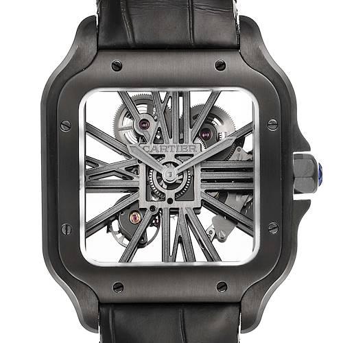 Photo of Cartier Skeleton Horloge Santos Black ADLC Steel Watch WHSA0009
