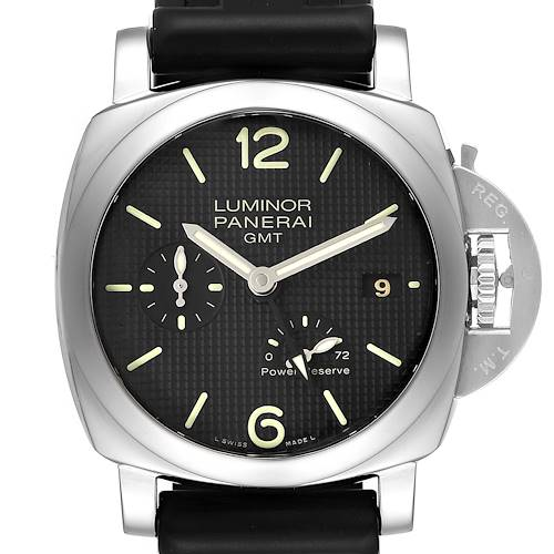 Photo of Panerai Luminor 1950 Power Reserve 3 Day GMT Watch PAM00537 Box Papers