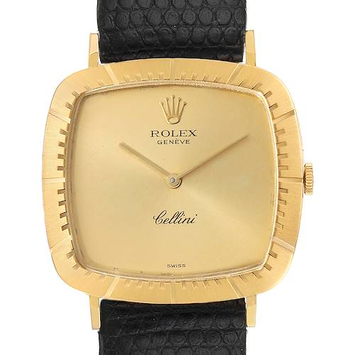 Photo of Rolex Cellini 18k Yellow Gold Black Strap Mens Vintage Watch 4048