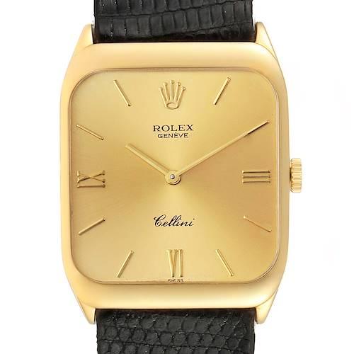 Photo of Rolex Cellini 18k Yellow Gold Black Strap Mens Vintage Watch 4135