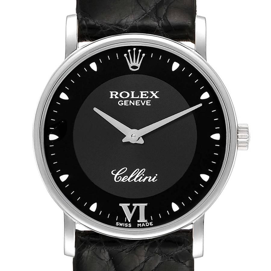 Rolex Cellini Classic 18k White Gold Black Dial Unisex Watch 5115 SwissWatchExpo