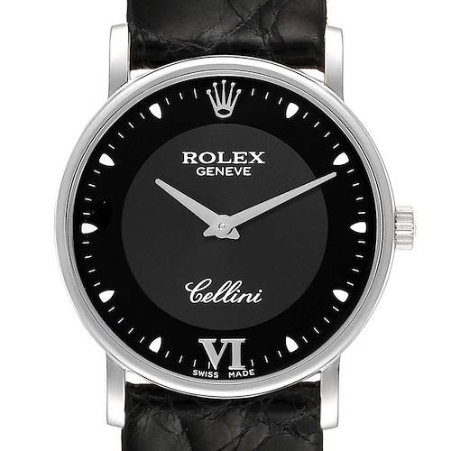Photo of Rolex Cellini Classic 18k White Gold Black Dial Unisex Watch 5115