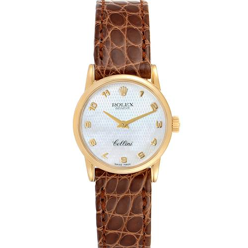 Photo of Rolex Cellini Classic 18k Yellow Gold Brown Strap Ladies Watch 6110