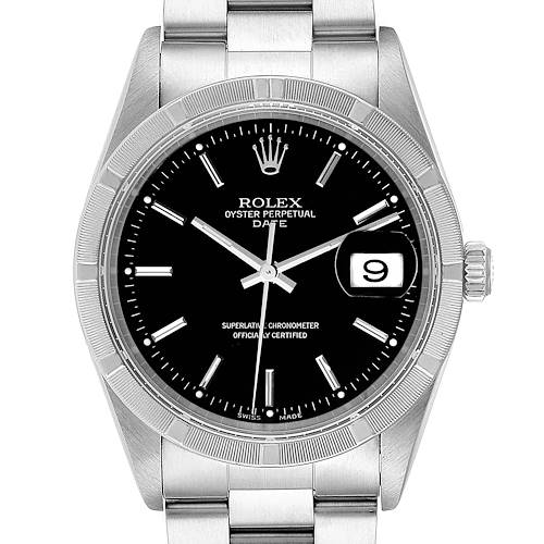 Photo of Rolex Date Black Dial Oyster Bracelet Steel Mens Watch 15210