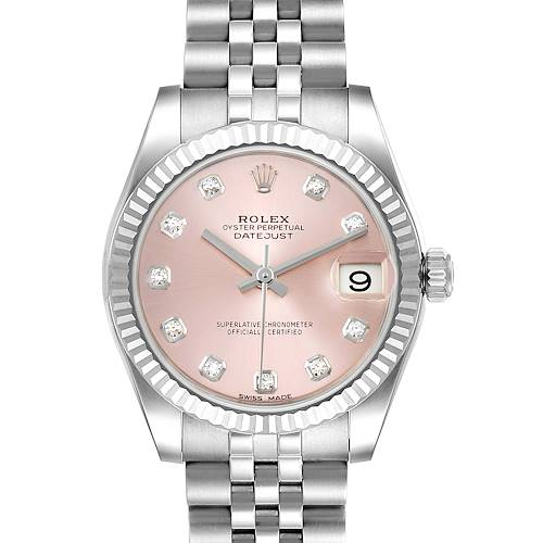 Photo of Rolex Datejust Midsize Steel White Gold Pink Diamond Dial Watch 178274