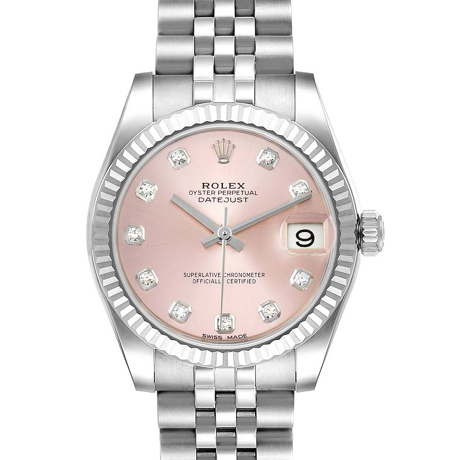 Rolex Datejust Midsize Steel White Gold Pink Diamond Dial Watch 178274 SwissWatchExpo