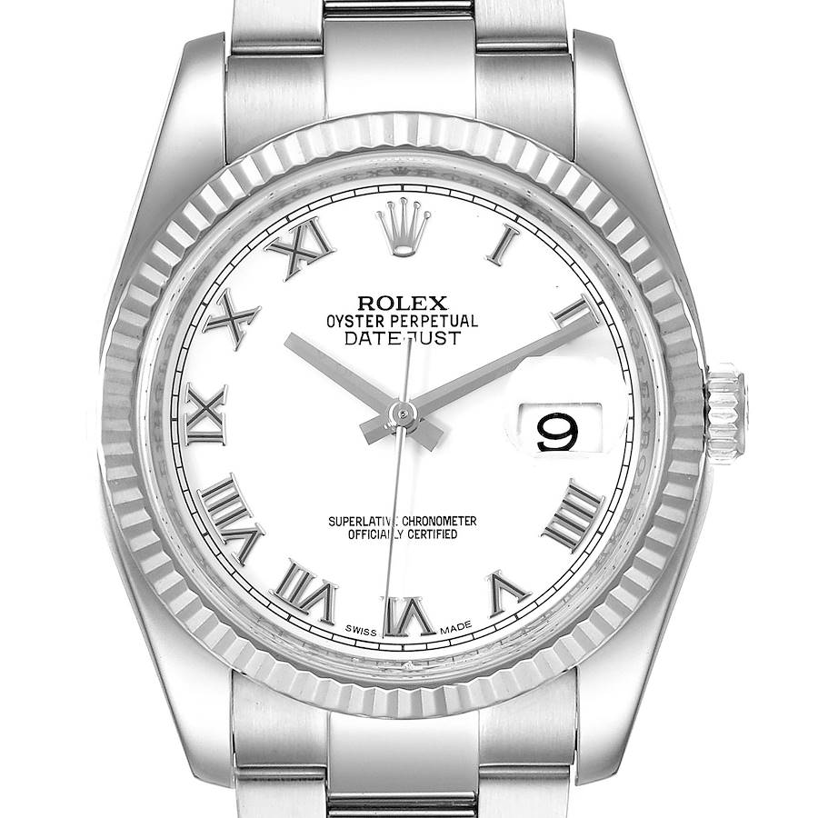Rolex Datejust Steel White Gold Mens Watch 116234 Box Papers SwissWatchExpo