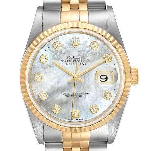 Photo of Rolex Datejust Steel Yellow Gold MOP Diamond Mens Watch 16233