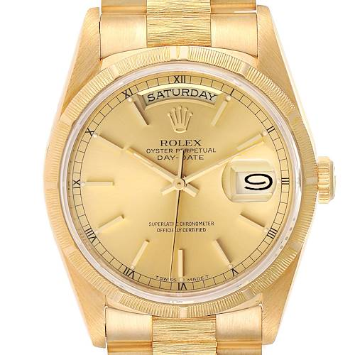 Photo of Rolex Day-Date President 36mm Yellow Gold Bark Finish Mens Watch 18248