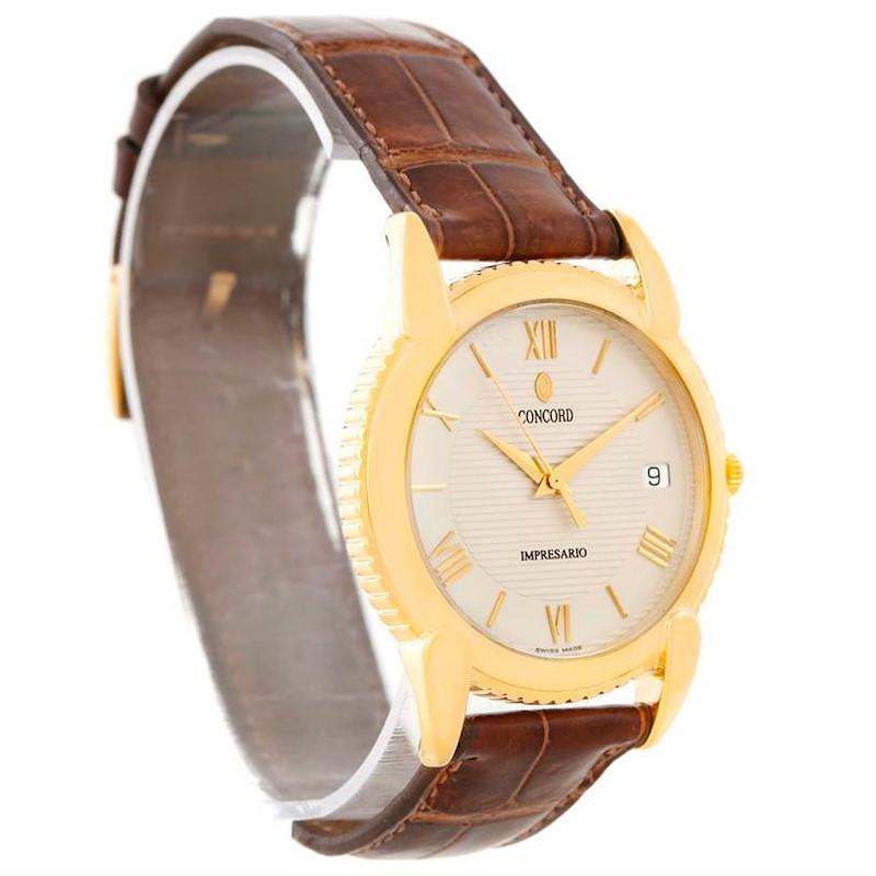 Concord Impresario 18k Yellow Gold Brown Strap Watch 50-C2-212 SwissWatchExpo