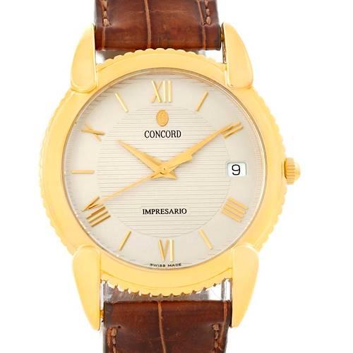 Photo of Concord Impresario 18k Yellow Gold Brown Strap Watch 50-C2-212