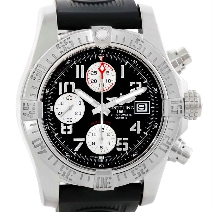 Breitling Aeromarine Super Avenger Steel Rubber Strap Watch A13381 SwissWatchExpo
