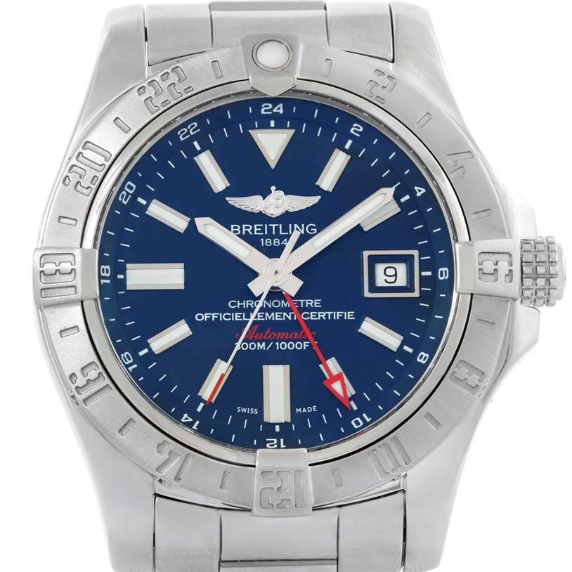 9902 Breitling Aeromarine Avenger II GMT Steel Blue Dial Watch A32390 SwissWatchExpo