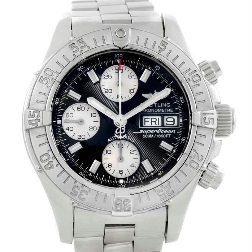 10080 Breitling Aeromarine Superocean Chrono Grey Dial Mens Watch A13340 SwissWatchExpo