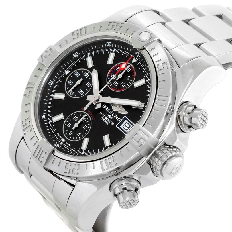 Breitling Aeromarine Super Avenger Black Dial Mens Watch A13381 Unworn SwissWatchExpo