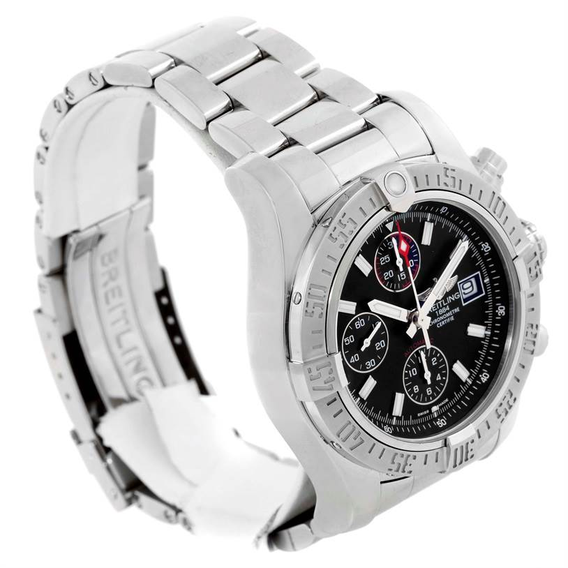 10082 Breitling Aeromarine Super Avenger Black Dial Mens Watch A13381 Unworn SwissWatchExpo