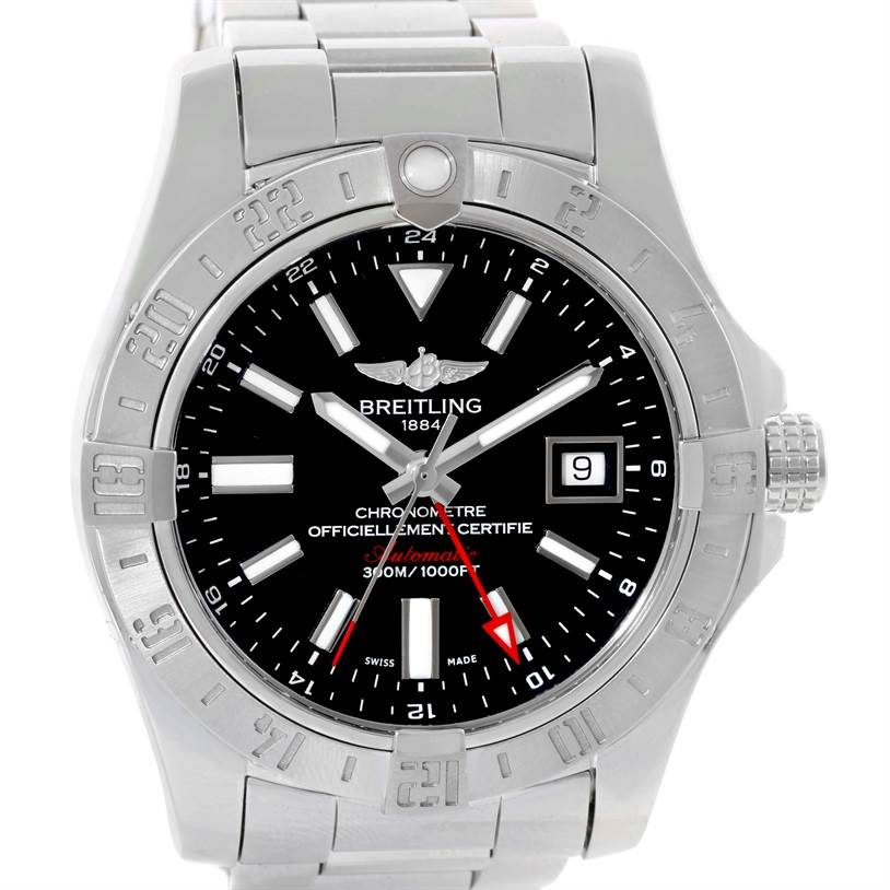 10109 Breitling Aeromarine Avenger II GMT Steel Black Dial Watch A32390 SwissWatchExpo