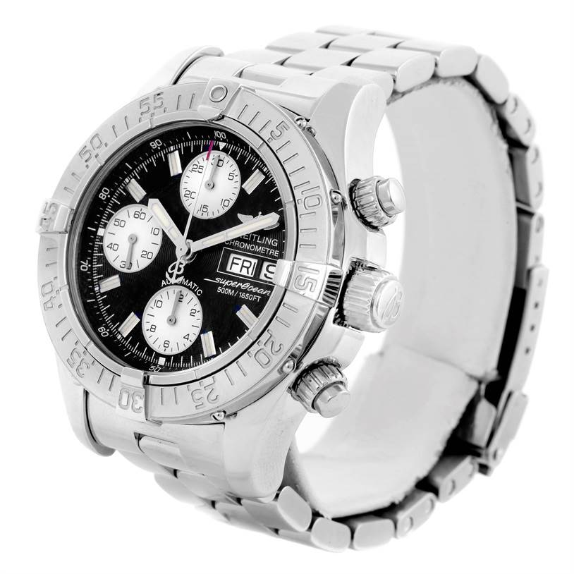 10119 Breitling Aeromarine Superocean Chrono Black Dial Mens Watch A13340 SwissWatchExpo