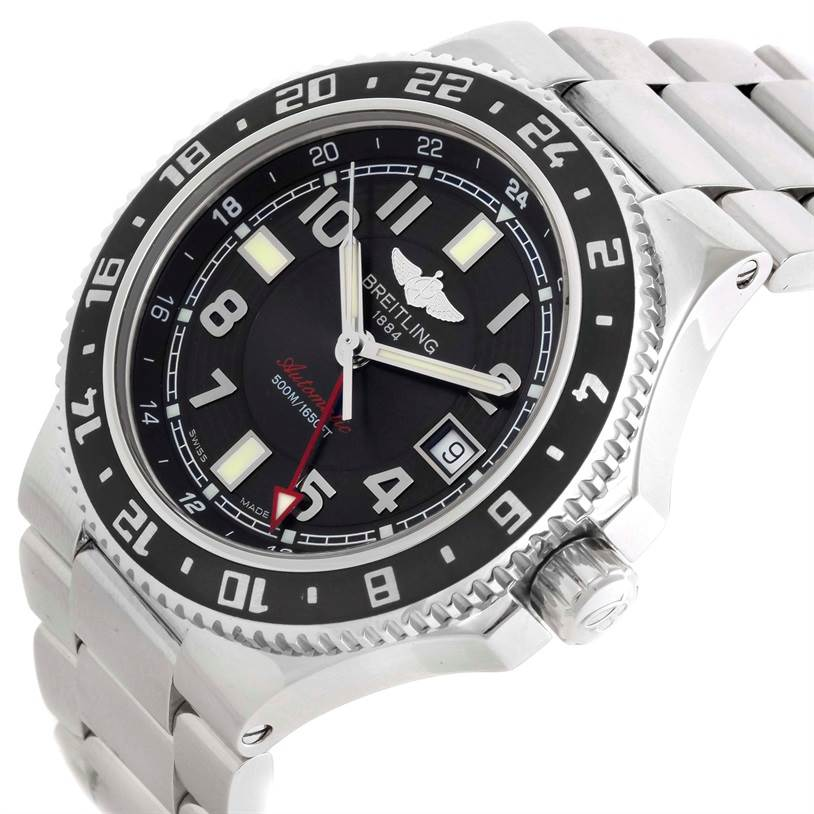 10214 Breitling Aeromarine Superocean GMT Grey Dial Mens Watch A32380 SwissWatchExpo