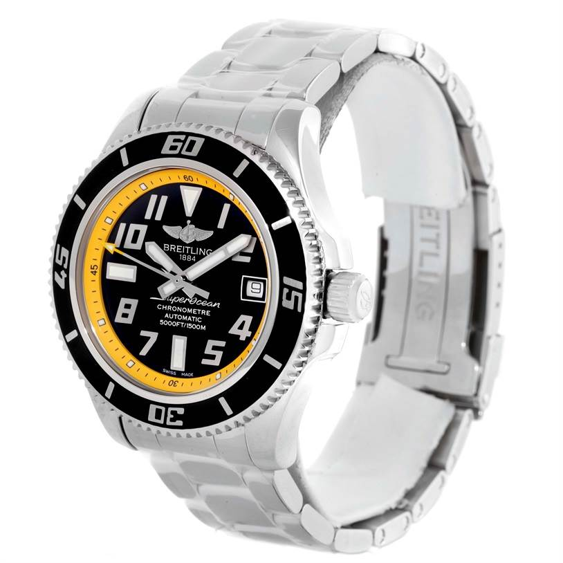10256 Breitling Superocean 42 Abyss Yellow Steel Mens Watch A17364 Unworn SwissWatchExpo