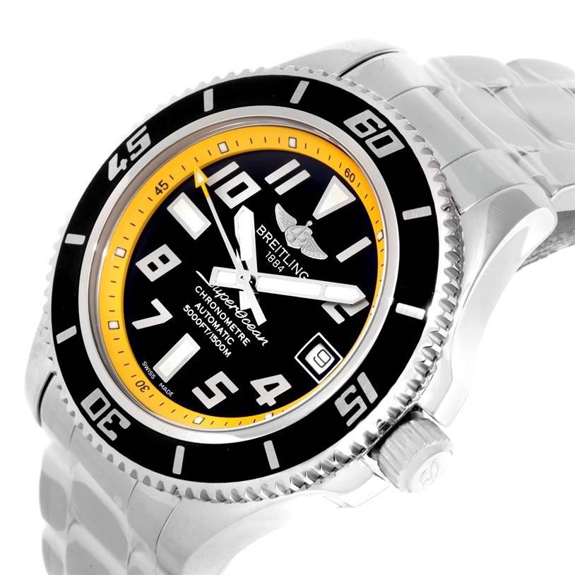 Breitling Superocean 42 Abyss Yellow Steel Mens Watch A17364 Unworn SwissWatchExpo