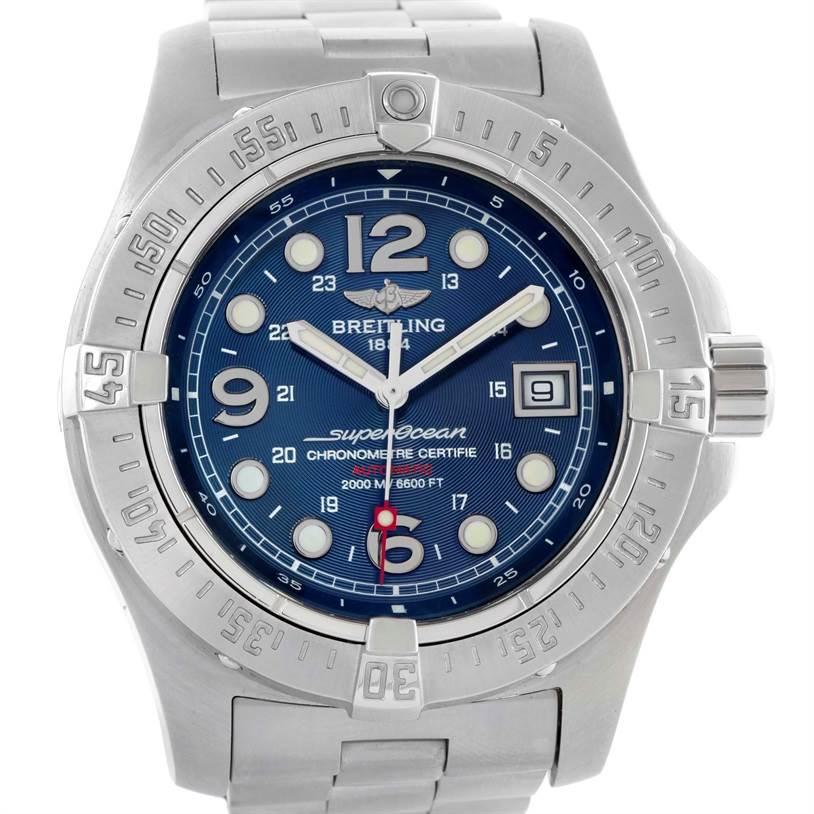 10537 Breitling Aeromarine Superocean Steelfish Blue Dial Watch A17390 SwissWatchExpo