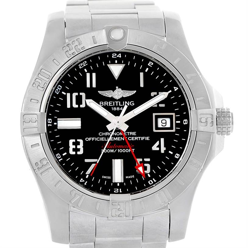 10712 Breitling Aeromarine Avenger II GMT Black Dial Watch A32390 Box Papers SwissWatchExpo
