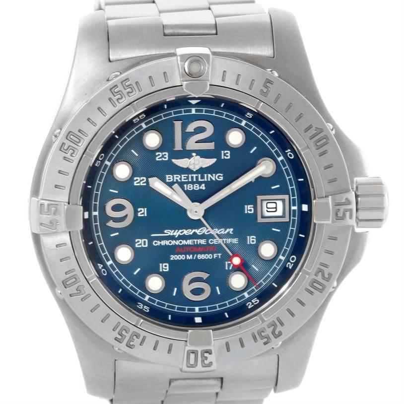 10889 Breitling Aeromarine Superocean Steelfish Blue Dial Watch A17390 SwissWatchExpo