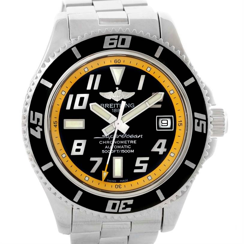 11074 Breitling Superocean 42 Abyss Yellow Steel Mens Watch A17364 SwissWatchExpo