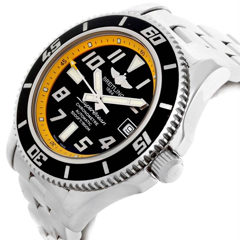 Breitling Superocean 42 Abyss Yellow Steel Mens Watch A17364 SwissWatchExpo