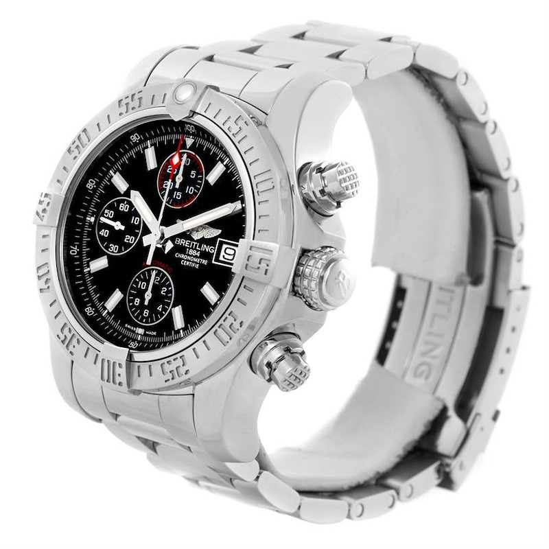 Breitling Aeromarine Super Avenger Black Dial Mens Watch A13381 SwissWatchExpo