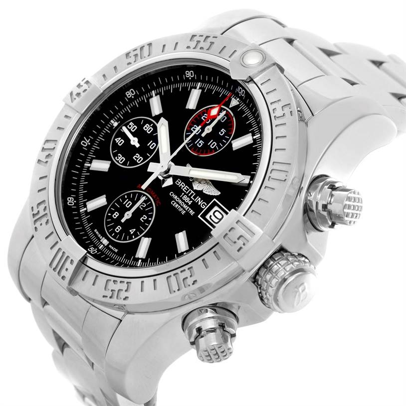 Breitling Aeromarine Super Avenger Black Dial Mens Watch A13381 SwissWatchExpo