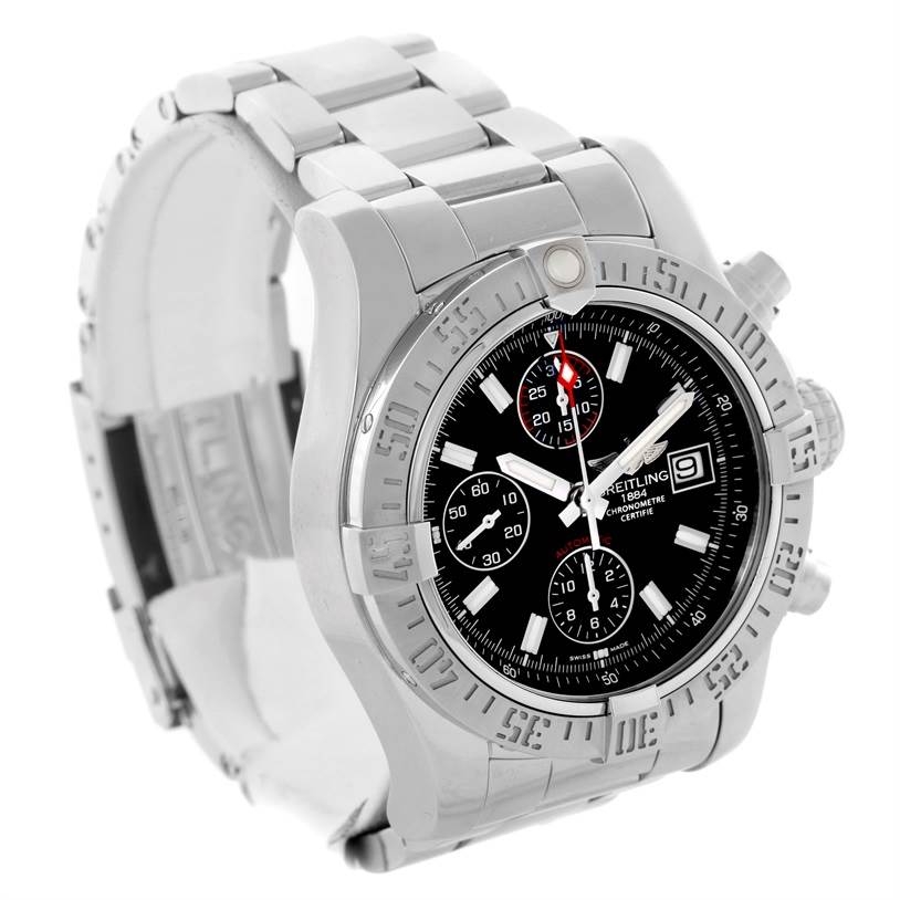 11136 Breitling Aeromarine Super Avenger Black Dial Mens Watch A13381 SwissWatchExpo