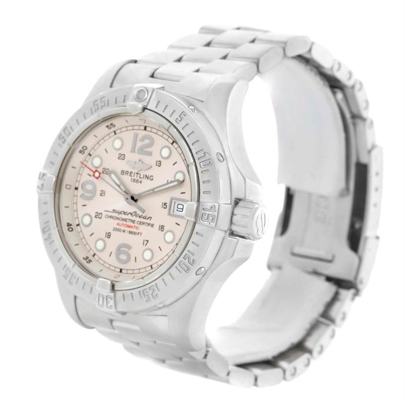 11174 Breitling Aeromarine Superocean Steelfish Cream Dial Watch A17390 SwissWatchExpo