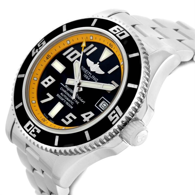 11394 Breitling Superocean 42 Abyss Yellow Steel Date Watch A17364 SwissWatchExpo