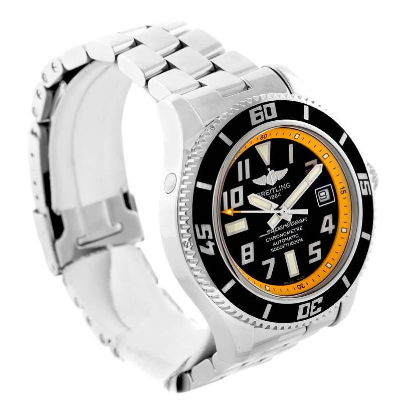 Breitling Superocean 42 Abyss Yellow Steel Date Watch A17364 SwissWatchExpo