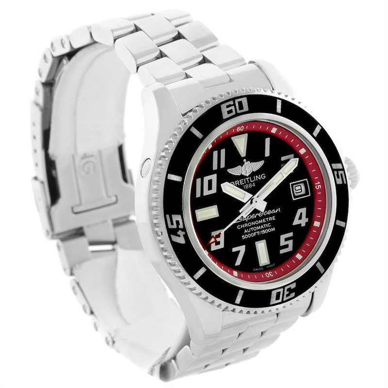 Breitling Aeromarine Superocean 42 Abyss Red Steel Date Watch A17364 SwissWatchExpo