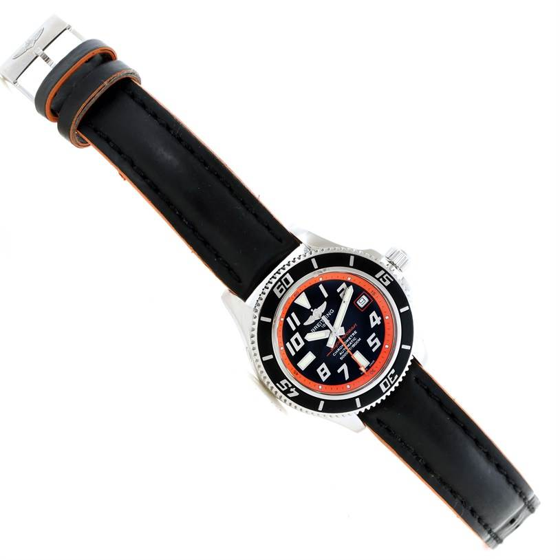 11566 Breitling Superocean 42 Abyss Orange Limited Edition Watch A17364 SwissWatchExpo