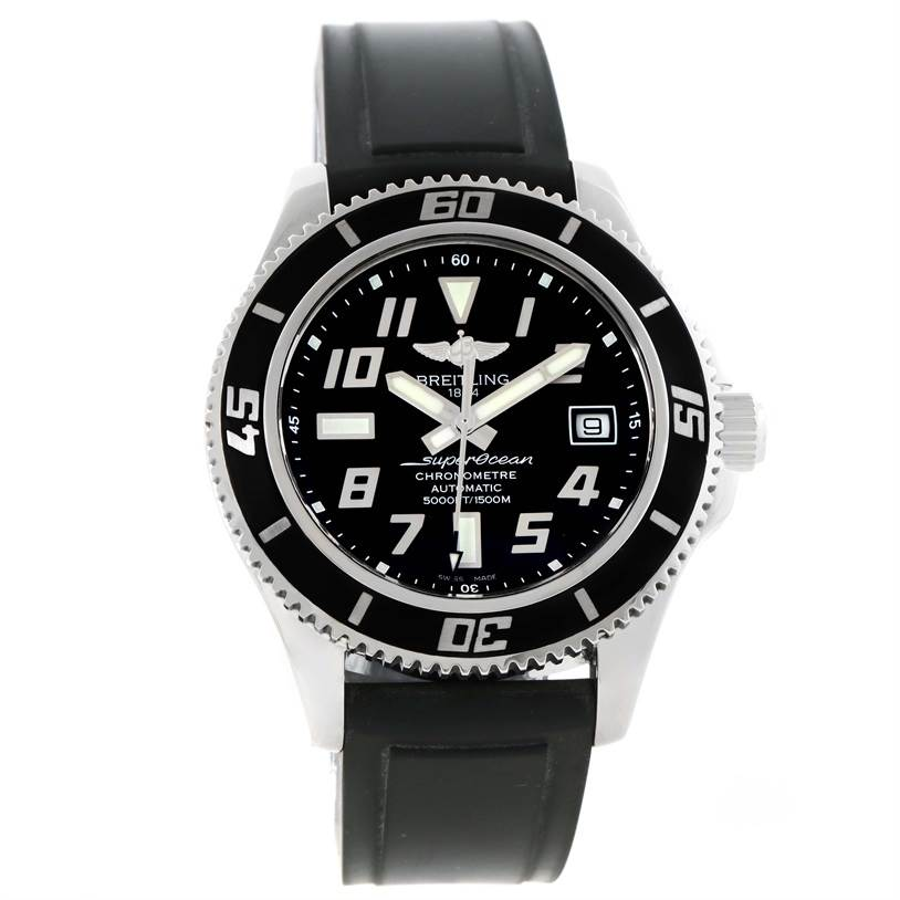 11563 Breitling Superocean 42 Abyss Black Rubber Strap Watch A17364 SwissWatchExpo
