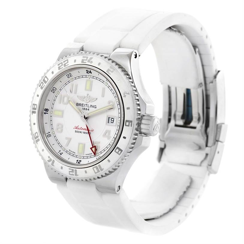 11731 Breitling Superocean GMT White Dial Rubber Watch A32380A9-A737 Unworn SwissWatchExpo